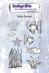 Little Fishies A6 Red Rubber Stamp